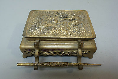 Unusual Antique Chinese Gilt Metal Inkstand / Box, 2 Internal Glass Inkwells