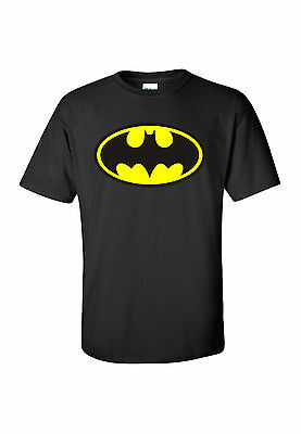 * BATMAN LOGO *  T SHIRT!  CLASSIC  ...  ALL SIZES ! BLACK    dc comics wayne