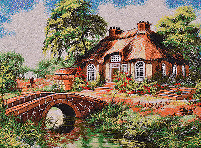 "18"" Brocaded Landscape Silk Painting Embroidery Art : Summer Villa River"