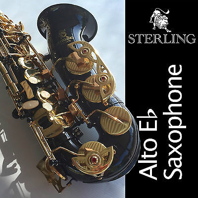 BLACK ALTO SAX • BRAND NEW • Eb STERLING Saxophone • With Case • Special •