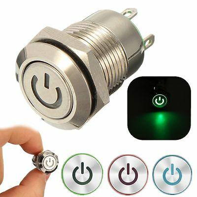 12V 2A 9.5mm LED Metal Cap Power Momentary Horn Push Button Switch Car Modified