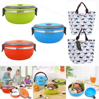 700ML Stainless Steel Thermal Insulated Lunch Box Bento Picnic Containers + Bag