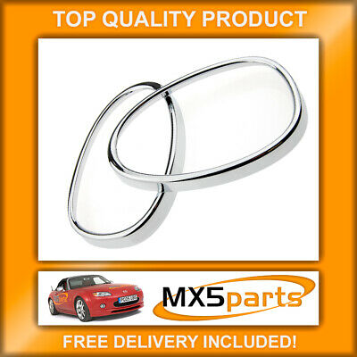 MX5 Chrome Door Wing Mirror Ring Surround Trim Set, Mazda MX-5 NC Mk3 2005>2008