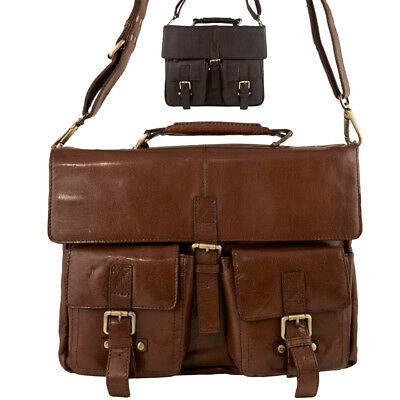cafc07bacd94 Mens Ladies Genuine Real Leather Cross Body Messenger Bag Laptop Sleeve  Brown