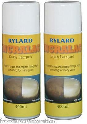 2 x Incralac Rylard Brass Lacquer 400ml Aerosol Protect Brass Copper Used by MOD