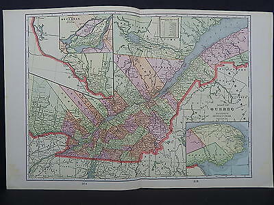 Map Canada, Province of Quebec George F. Cram 1901 Double-Sided Map W18#90