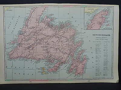 Map Canada, Province of Newfoundland George F. Cram 1901 ONE Double-Sided Map #3