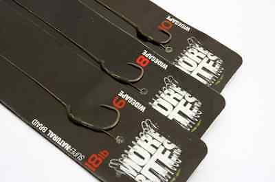 Korda NEW Ready Tied Supernatural Braid Rigs Size 10 Wide Gape Barbed Pack of 5