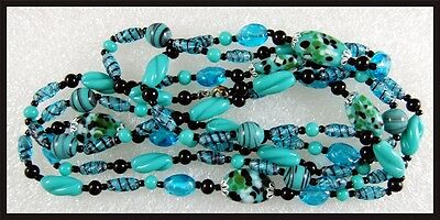 "Vintage Deco Era 55"" Long Sautoir BLUE & Black Italian Art Glass Necklace"