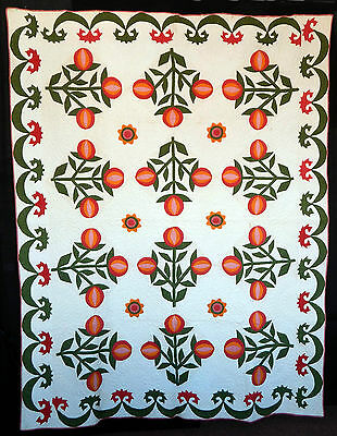 Antique 1850 Applique Red and Green Love Apple Quilt