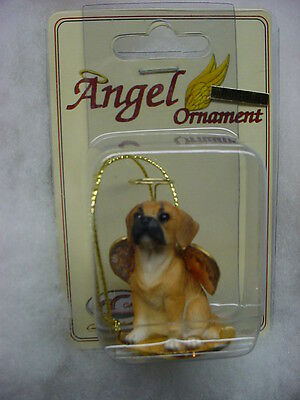 PUGGLE dog ANGEL Ornament Figurine HAND PAINTED Collectible NEW Christmas puppy