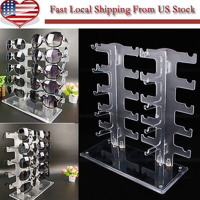 New Durable 2 Row 10 Pairs Sunglasses Glasses Rack Holder Frame Display Stand US