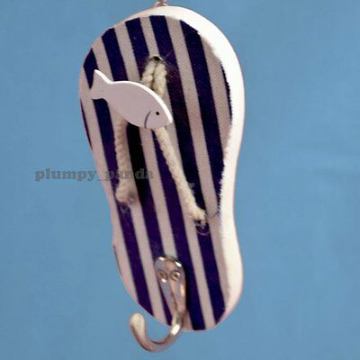 14.8cm Wooden Hook Handcrafted Nautical Decor Sandal Shape