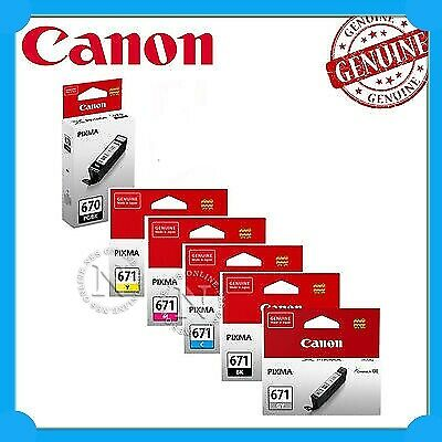 Canon Genuine PGI-670/CLI-671 (Set of 6) Ink Cartridges for MG7760/MG7765/MG7766