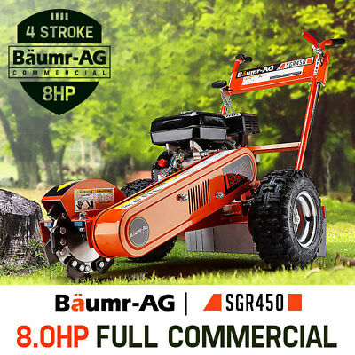 Baumr-AG 8HP STUMP GRINDER SGR450 Petrol Cutter Wood Chipper Mulcher Tree Root