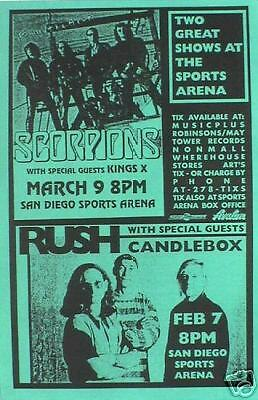 Rush & Scorpions 1993 San Diego Concert Tour Poster