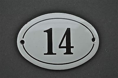 Antique Style Small Oval Number 14 Door Number Plaque Sign Enamel On Metal