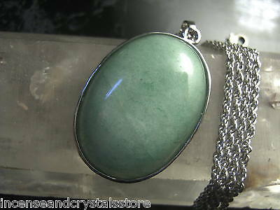 AVENTURINE Wealth Stone 40x25mm Stunning Oval Pendant with 400mm chain and pouch