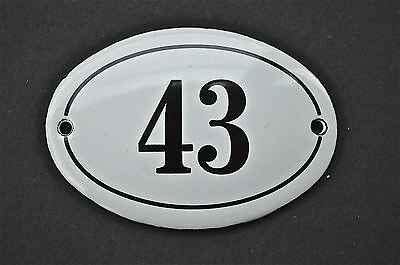 Antique Style Small Oval Number 43 Door Number Plaque Sign Enamel On Metal