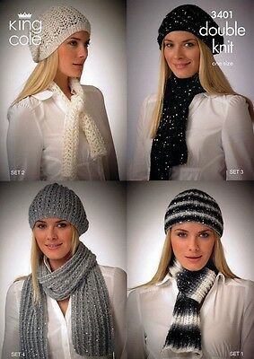 King Cole Ladies Hats & Scarves Galaxy Knitting Pattern 3401  DK (KCP-3401)
