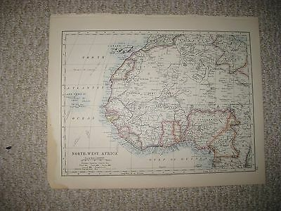 Antique 1890 Central French Congo Northwest West Morocco Africa Maritime Map Nr