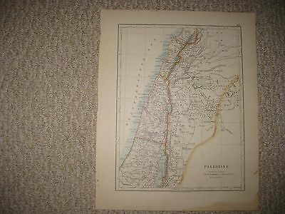 Antique 1890 Palestine & Red Sea Israel Middle East Map Arabia Egypt Superb Nr