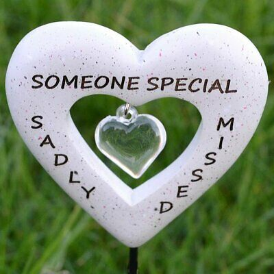 Sadly Missed Someone Special Love Heart Memorial Tribute Stick Graveside Plaque