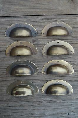 "A Set Of 8 Antique Pressed Aged Brass Drawer Handle Filing Industrial 3"" Cb22"