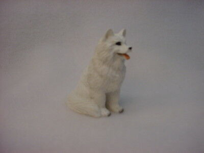 SAMOYED dog TiNY FIGURINE puppy HAND PAINTED MINIATURE Resin Mini Statue NEW