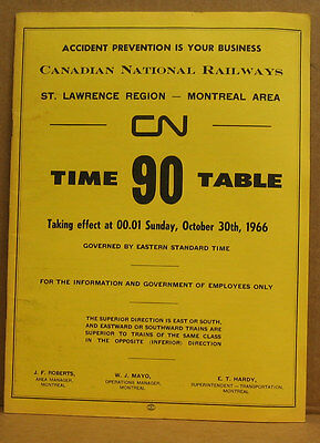 Canadian National Employee Timetable #90 October 30 1966