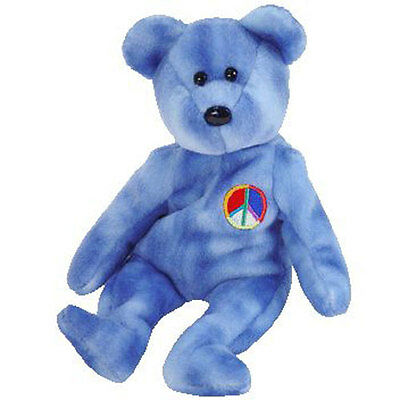 TY Beanie Baby - PEACE 2003 the Bear (Blue Version) (8.5 inch) - MWMTs