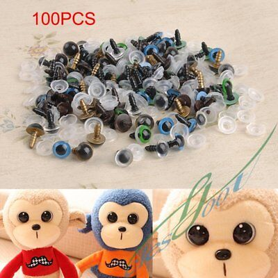 100pc 10mm Mix Color Plastic Safety Eyes For Teddy Bear Doll Animal Puppet Craft