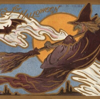 Unusual..art Nouveau Design.. Witch Chases Bats,halloween Moon,rose Co. Postcard