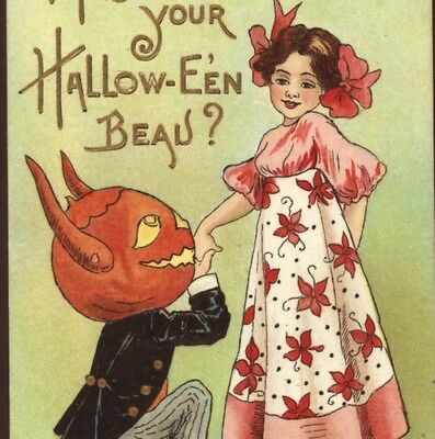 "Hbg..(Griggs)...romantic Devil Proposes ""may I Be Your Halloween Beau"" Postcard"