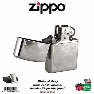 Zippo Birds Of Prey, High Polish Chrome, Windproof Pocket Lighter Genuine #21069