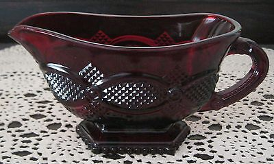 Avon 1876 Cape Cod Ruby Red Glass Footed Gravy Sauce Boat Vintage