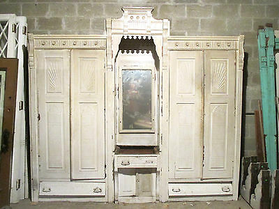 ~ Antique Carved Walnut Closet Front Built In Armoire ~ Architectural Salvage