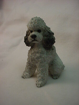 GRAY POODLE dog HAND PAINTED COLLECTIBLE Statue puppy RESIN FIGURINE Sport cut