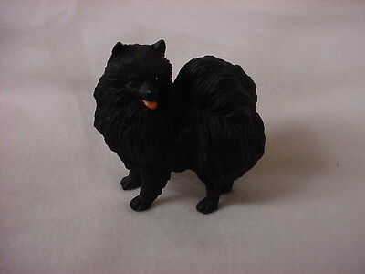 POMERANIAN FIGURINE dog HAND PAINTED Resin Statue BLACK  puppy Pom Collectible