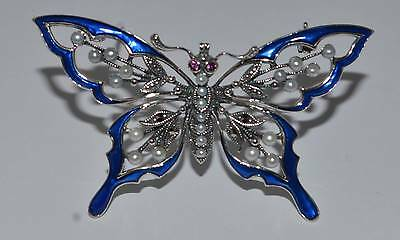 New silver enamel and cultured pearl butterfly  brooch