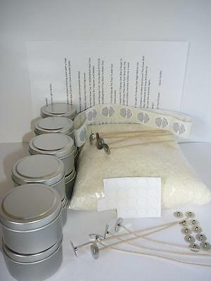 1 kg Soy Wax Candle Making Tins Kit  Labels,Wick Tabs,Wicks **Bonus** Stickums