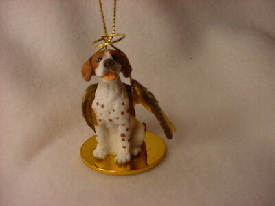 POINTER dog ANGEL Ornament Figurine Resin Statue NEW Christmas Brown White puppy