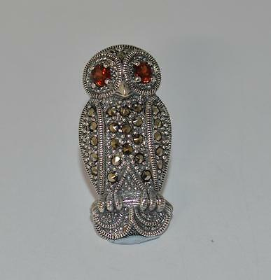 New Silver And Marcasite Owl  Bar Brooch