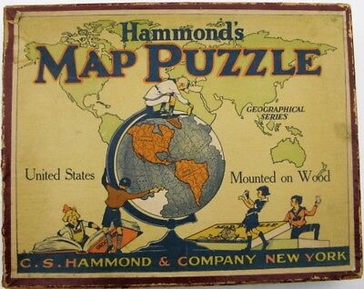 Antique Hammond's Map Puzzle United States Mounted On Wood, In Original Box