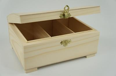 Plain Wooden Box Hinged Jewellery 3 Comparments Storage Decoupage Craft P3C