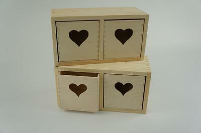1x Plain Wooden Jewellery Box Chest With Heart Drawers Decoupage Art Craft PD11