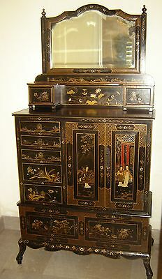 Antique Chinese Export Qing Dynasty Black & Gilt Lacquer Cabinet Signed W Seals