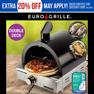NEW Euro-Grille Portable Pizza Oven BBQ Camping LPG Gas Stainless Steel Benchtop