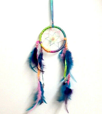 8cm RAINBOW DREAM CATCHER TIE DYE COLOURFUL WALL ART DECORATION HANGER FEATHERS