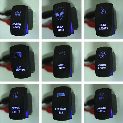 5P ARB Waterproof 12V 20A Bar Rocker Toggle Switch Blue LED Light Car Boat